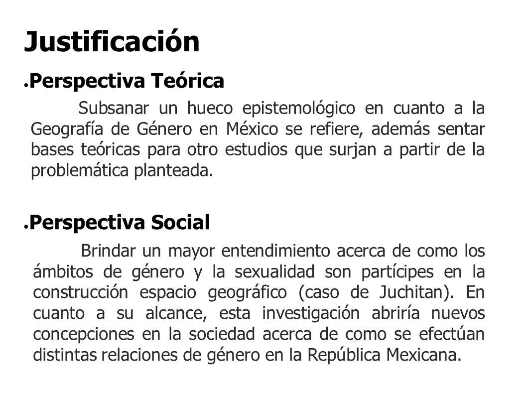 Subsanar un hueco epistemológico en cuanto a la Geografía de Género en México se refiere, además sentar bases teóricas para otro estudios que surjan a