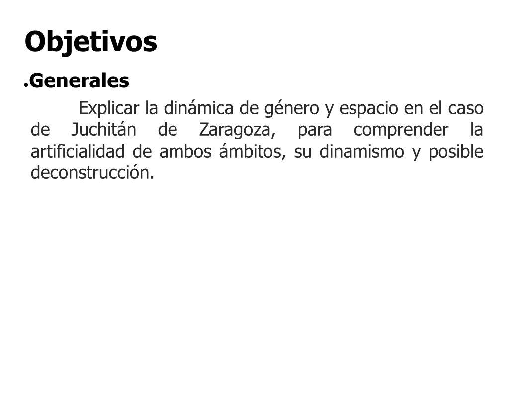 Explicar la dinámica de género y espacio en el caso de Juchitán de Zaragoza, para comprender la artificialidad de ambos ámbitos, su dinamismo y posibl