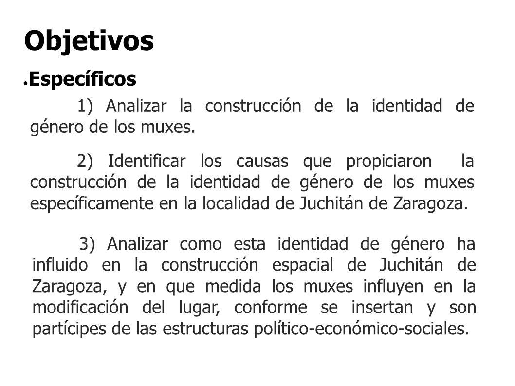 1) Analizar la construcción de la identidad de género de los muxes. Específicos Objetivos 2) Identificar los causas que propiciaron la construcción de