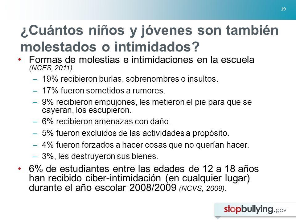 19 ¿Cuántos niños y jóvenes son también molestados o intimidados.
