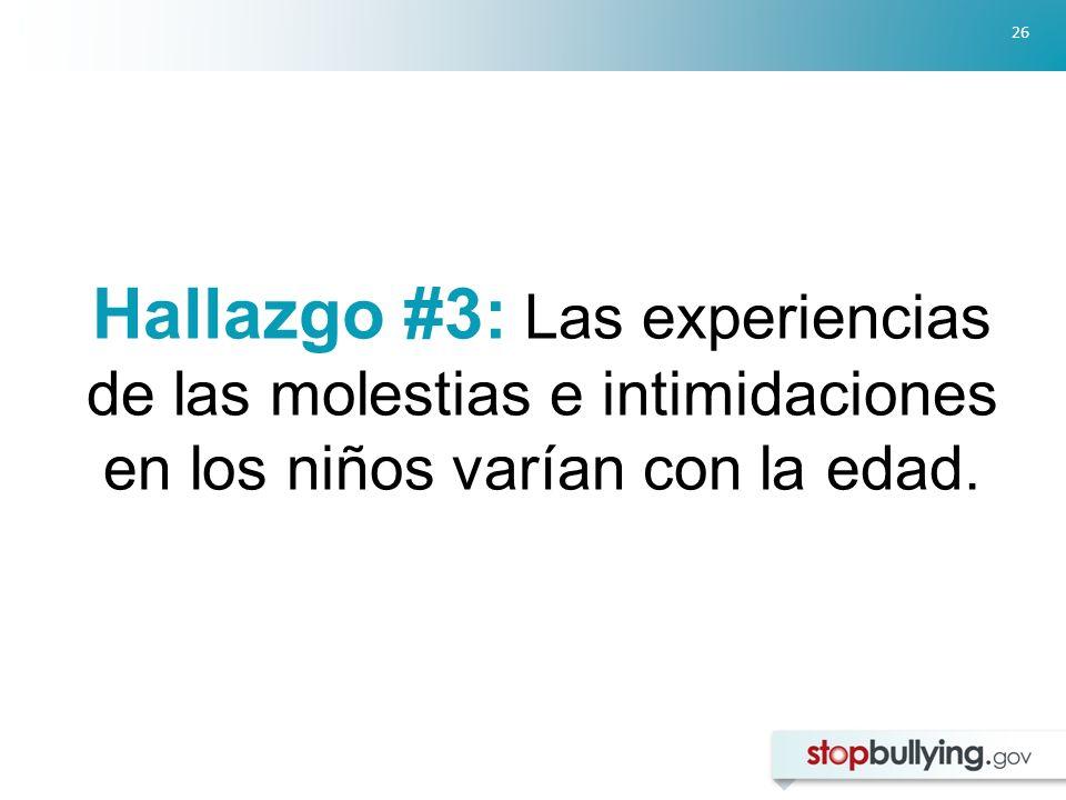 26 Hallazgo #3: Las experiencias de las molestias e intimidaciones en los niños varían con la edad.