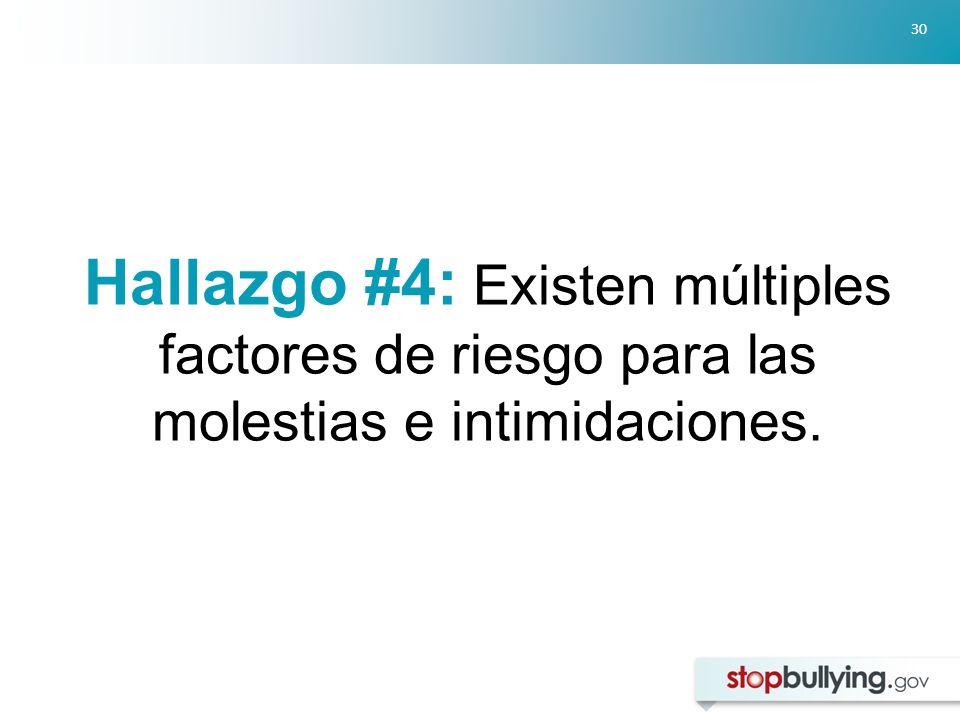 30 Hallazgo #4: Existen múltiples factores de riesgo para las molestias e intimidaciones.