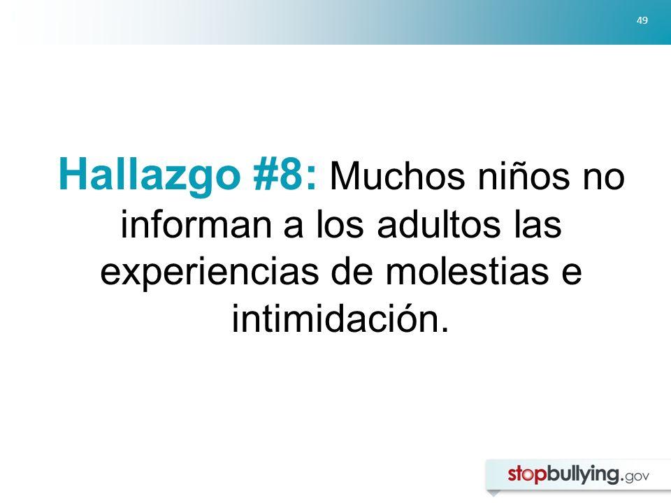 49 Hallazgo #8: Muchos niños no informan a los adultos las experiencias de molestias e intimidación.