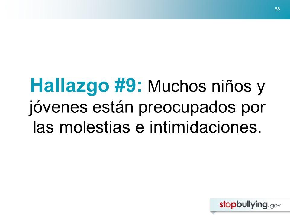53 Hallazgo #9: Muchos niños y jóvenes están preocupados por las molestias e intimidaciones.