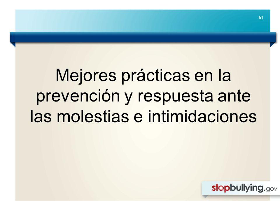 61 Mejores prácticas en la prevención y respuesta ante las molestias e intimidaciones