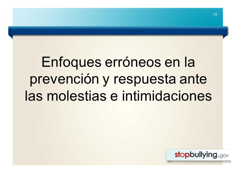 72 Enfoques erróneos en la prevención y respuesta ante las molestias e intimidaciones