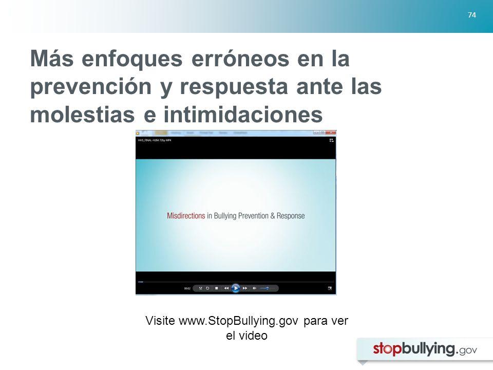 74 Más enfoques erróneos en la prevención y respuesta ante las molestias e intimidaciones Visite www.StopBullying.gov para ver el video