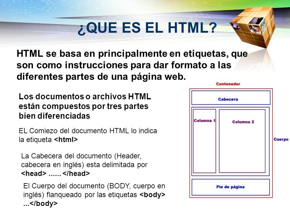 ¿QUE ES EL HTML? HTML se basa en principalmente en etiquetas, que son como instrucciones para dar formato a las diferentes partes de una página web. L