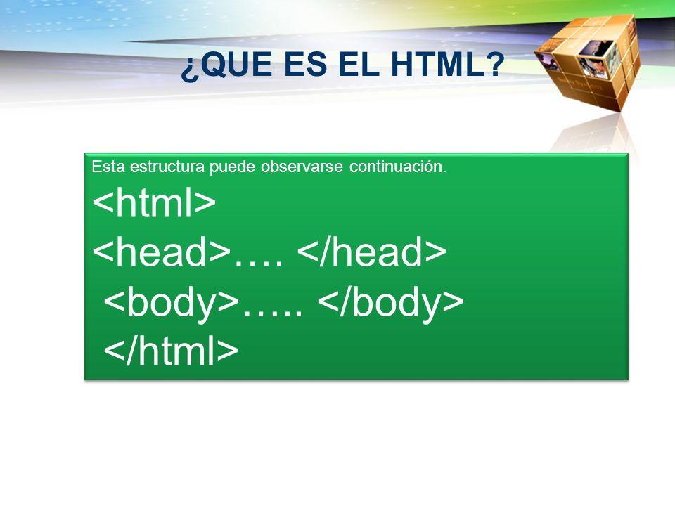 ¿QUE ES EL HTML? Esta estructura puede observarse continuación. …. ….. Esta estructura puede observarse continuación. …. …..