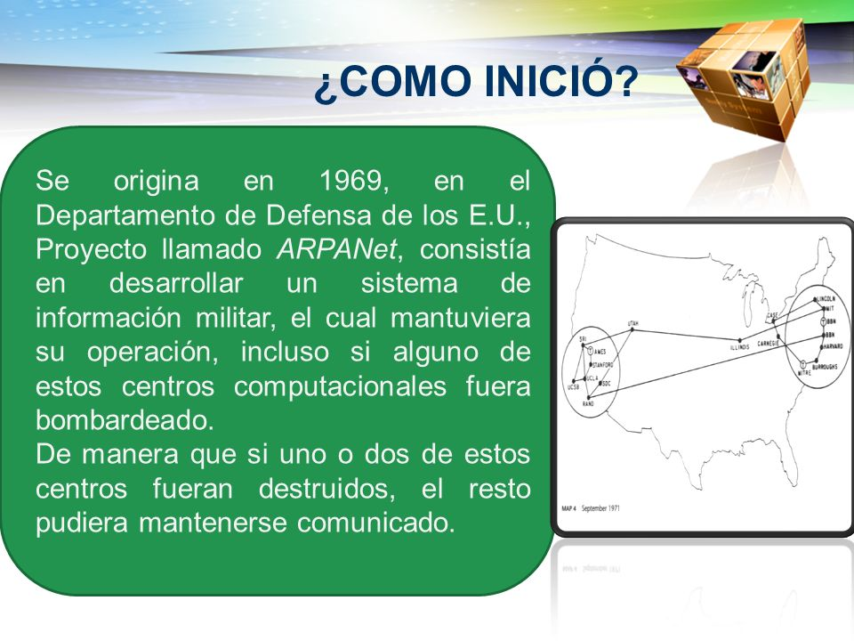 ¿COMO INICIÓ? Se origina en 1969, en el Departamento de Defensa de los E.U., Proyecto llamado ARPANet, consistía en desarrollar un sistema de informac