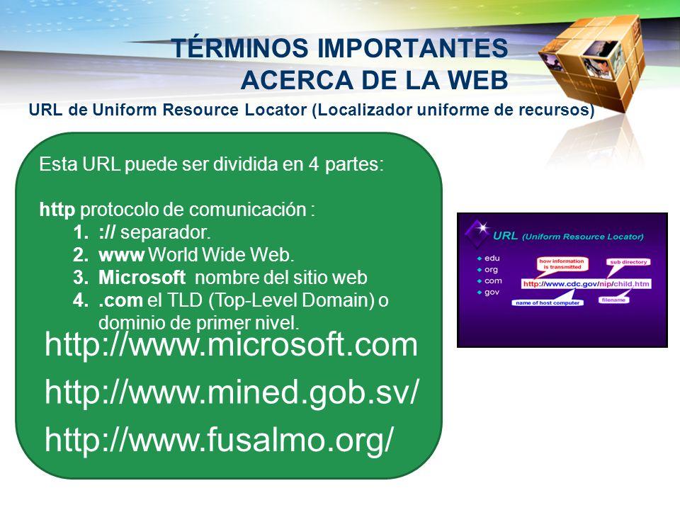 TÉRMINOS IMPORTANTES ACERCA DE LA WEB URL de Uniform Resource Locator (Localizador uniforme de recursos) Esta URL puede ser dividida en 4 partes: http