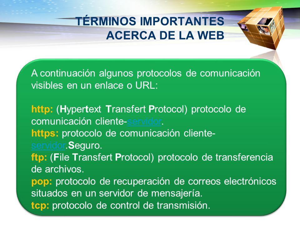 TÉRMINOS IMPORTANTES ACERCA DE LA WEB A continuación algunos protocolos de comunicación visibles en un enlace o URL: http: (Hypertext Transfert Protoc
