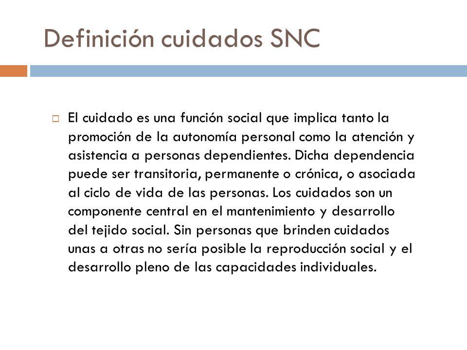 Definición cuidados SNC El cuidado es una función social que implica tanto la promoción de la autonomía personal como la atención y asistencia a personas dependientes.