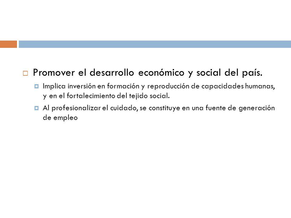 Promover el desarrollo económico y social del país.