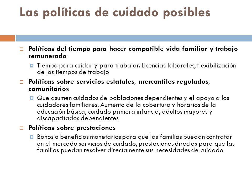 Las políticas de cuidado posibles Políticas del tiempo para hacer compatible vida familiar y trabajo remunerado: Tiempo para cuidar y para trabajar.