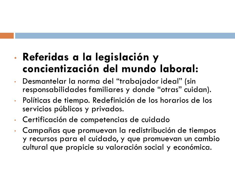 Referidas a la legislación y concientización del mundo laboral: Desmantelar la norma del trabajador ideal (sin responsabilidades familiares y donde otras cuidan).