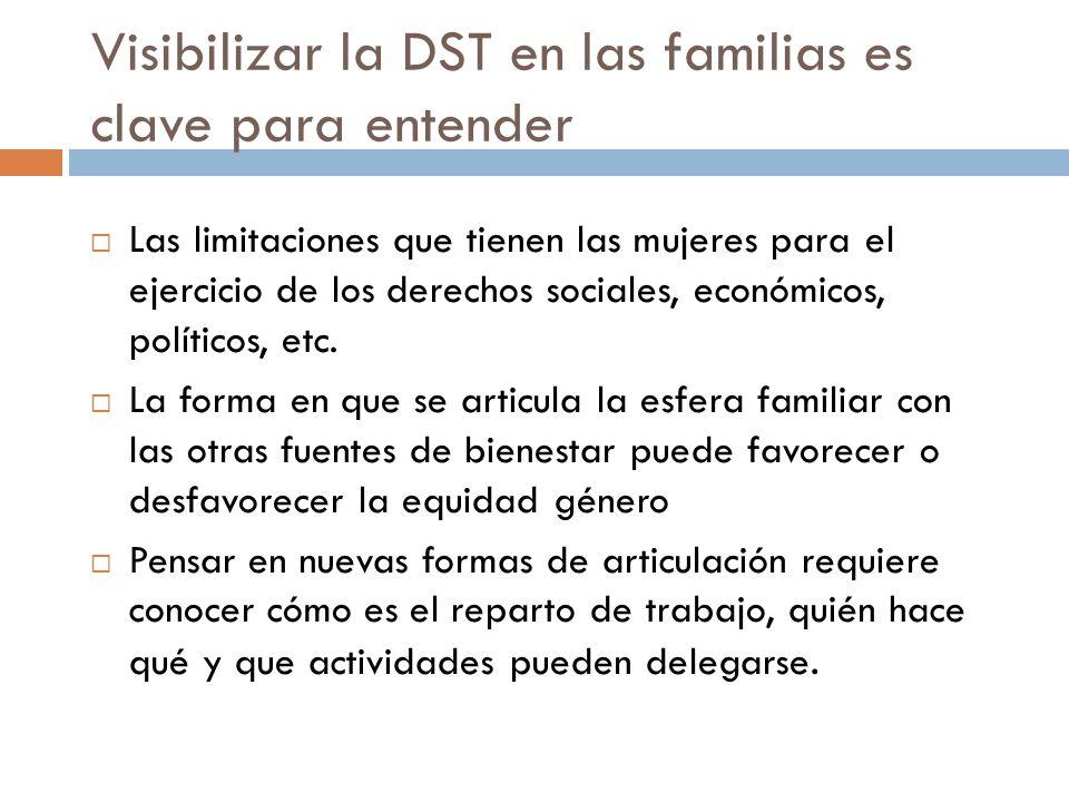 Visibilizar la DST en las familias es clave para entender Las limitaciones que tienen las mujeres para el ejercicio de los derechos sociales, económicos, políticos, etc.