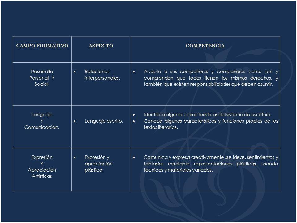 CAMPO FORMATIVO ASPECTO COMPETENCIA Desarrollo Personal Y Social.