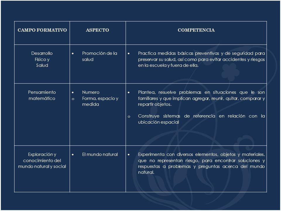 CAMPO FORMATIVO ASPECTO COMPETENCIA Desarrollo Físico y Salud Promoción de la salud Practica medidas básicas preventivas y de seguridad para preservar su salud, así como para evitar accidentes y riesgos en la escuela y fuera de ella.