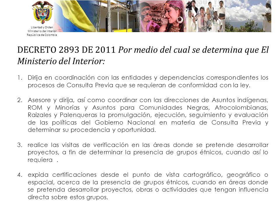 Libertad y Orden Ministerio del Interior República de Colombia DECRETO 2893 DE 2011 Por medio del cual se determina que El Ministerio del Interior: 1.