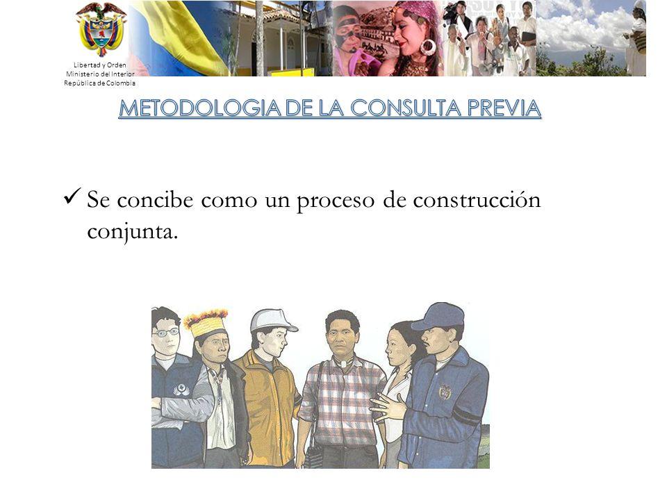 Libertad y Orden Ministerio del Interior República de Colombia Se concibe como un proceso de construcción conjunta.