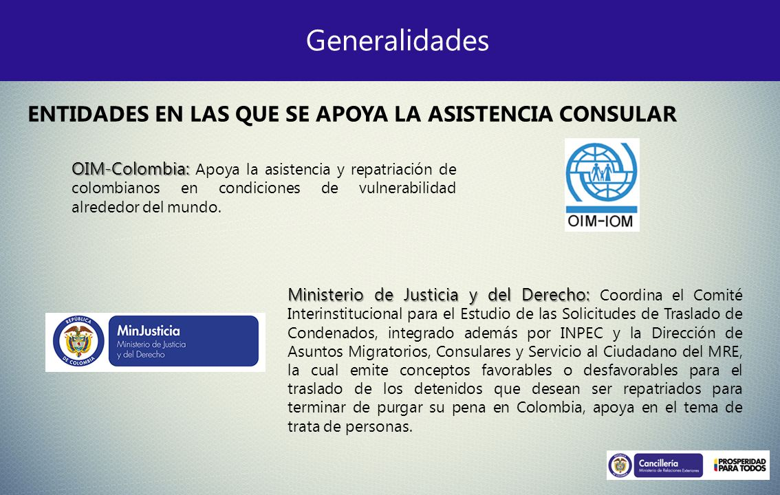 Generalidades OIM-Colombia: OIM-Colombia: Apoya la asistencia y repatriación de colombianos en condiciones de vulnerabilidad alrededor del mundo. Mini