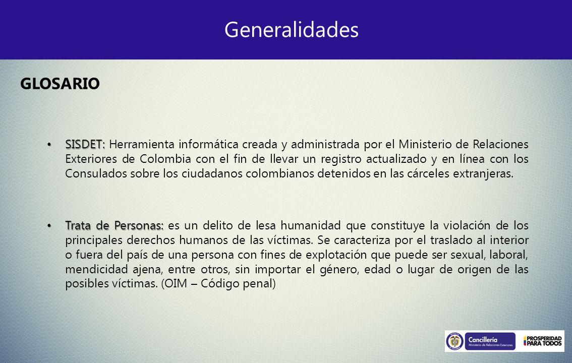 Generalidades GLOSARIO SISDET: SISDET: Herramienta informática creada y administrada por el Ministerio de Relaciones Exteriores de Colombia con el fin