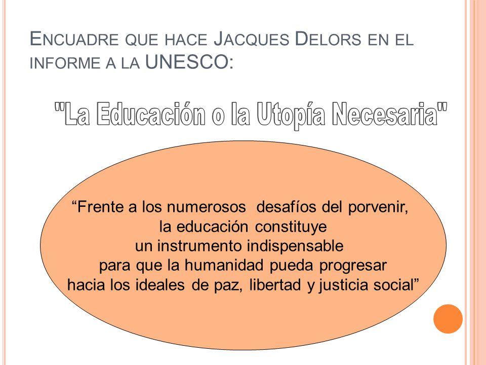 E NCUADRE QUE HACE J ACQUES D ELORS EN EL INFORME A LA UNESCO: Frente a los numerosos desafíos del porvenir, la educación constituye un instrumento in