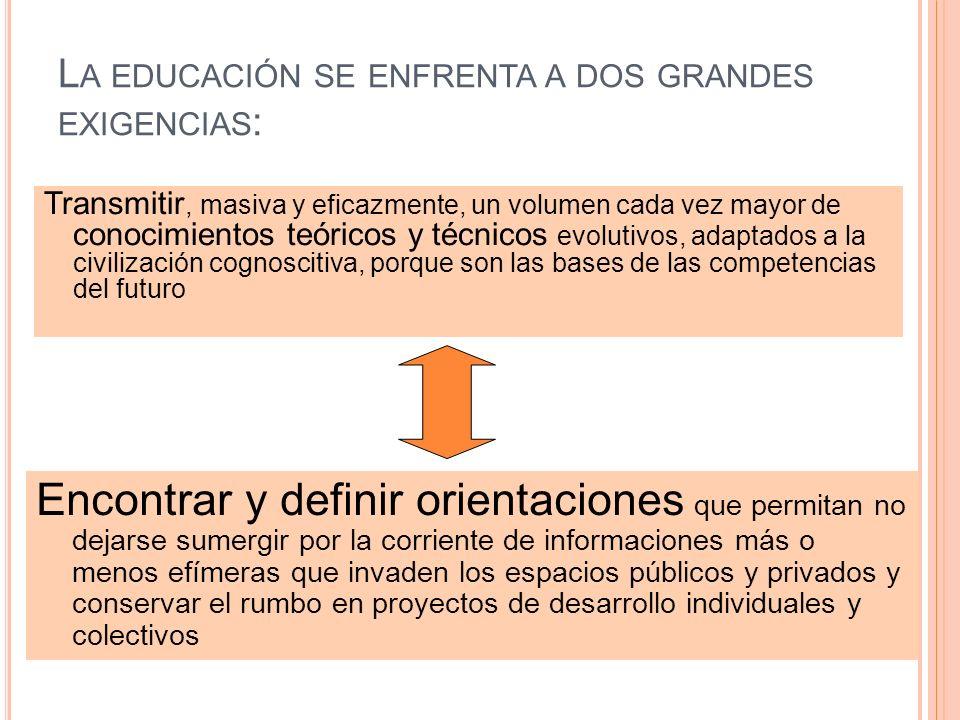 L A EDUCACIÓN SE ENFRENTA A DOS GRANDES EXIGENCIAS : Transmitir, masiva y eficazmente, un volumen cada vez mayor de conocimientos teóricos y técnicos