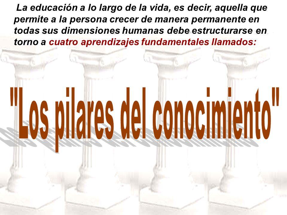 La educación a lo largo de la vida, es decir, aquella que permite a la persona crecer de manera permanente en todas sus dimensiones humanas debe estru