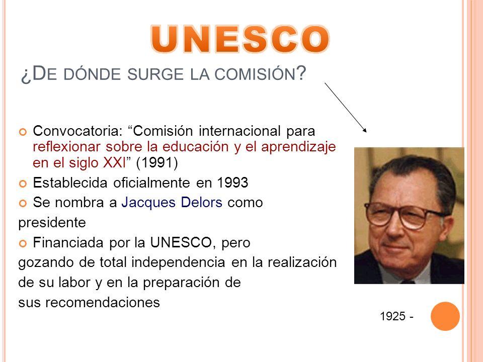 ¿D E DÓNDE SURGE LA COMISIÓN ? Convocatoria: Comisión internacional para reflexionar sobre la educación y el aprendizaje en el siglo XXI (1991) Establ
