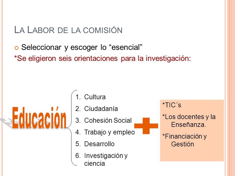 L A L ABOR DE LA COMISIÓN Seleccionar y escoger lo esencial *Se eligieron seis orientaciones para la investigación: 1.Cultura 2.Ciudadanía 3.Cohesión