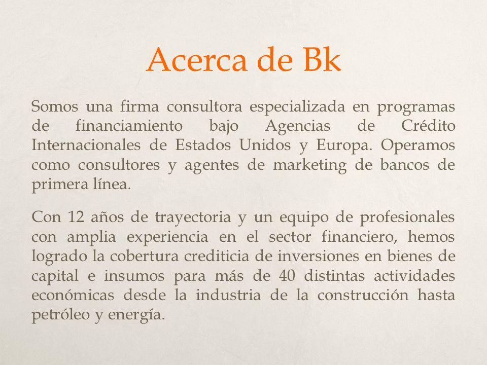 Acerca de Bk Somos una firma consultora especializada en programas de financiamiento bajo Agencias de Crédito Internacionales de Estados Unidos y Europa.