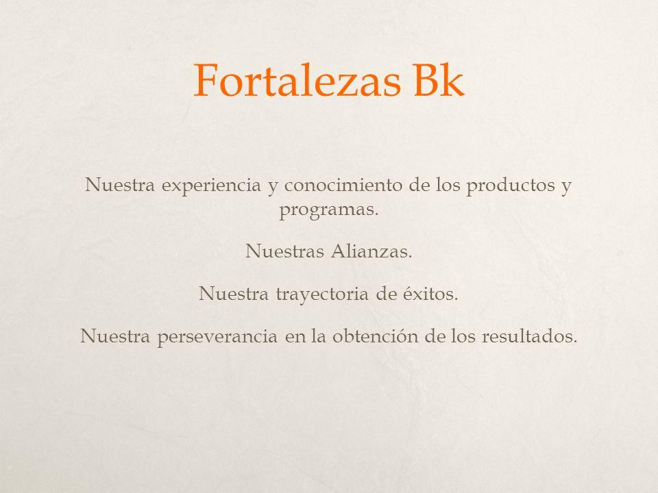 Fortalezas Bk Nuestra experiencia y conocimiento de los productos y programas.