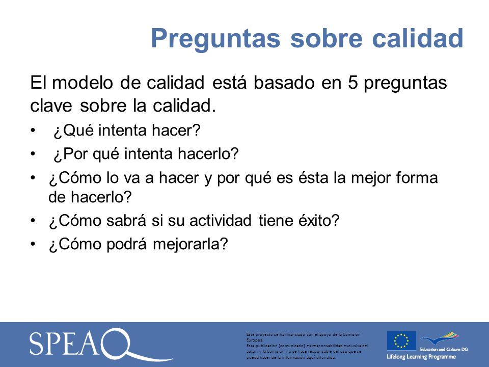 El modelo de calidad está basado en 5 preguntas clave sobre la calidad.