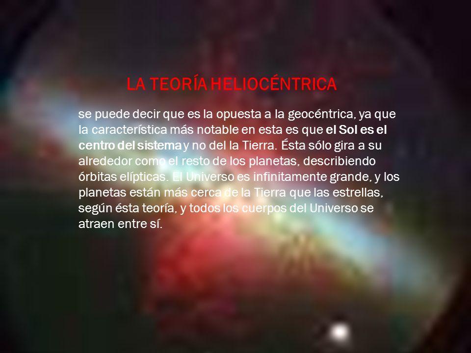se puede decir que es la opuesta a la geocéntrica, ya que la característica más notable en esta es que el Sol es el centro del sistema y no del la Tierra.