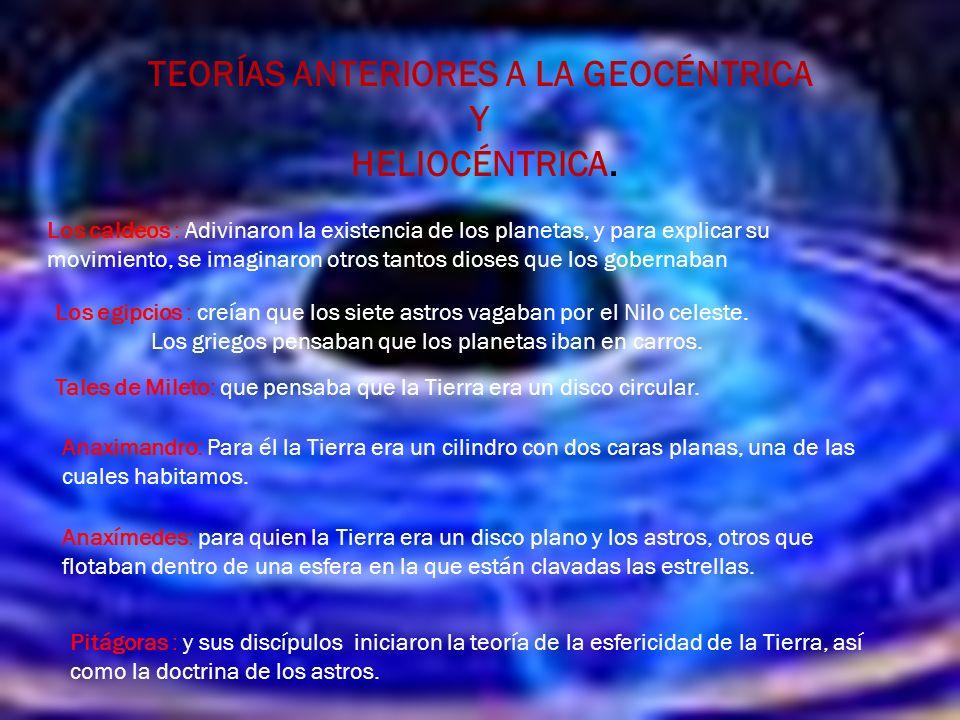 TEORÍAS ANTERIORES A LA GEOCÉNTRICA Y HELIOCÉNTRICA.