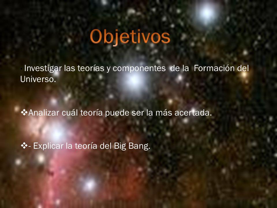 Investigar las teorías y componentes de la Formación del Universo.