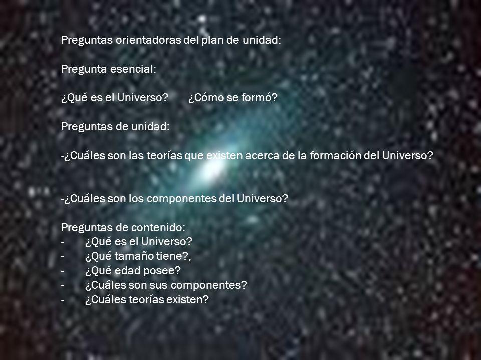 Preguntas orientadoras del plan de unidad: Pregunta esencial: ¿Qué es el Universo.