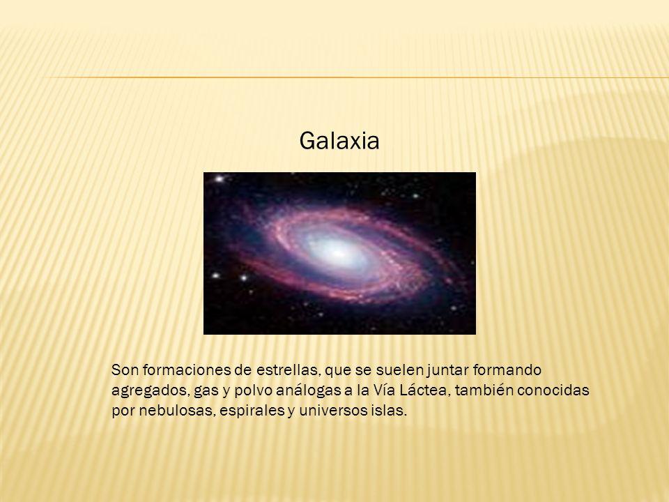 Galaxia Son formaciones de estrellas, que se suelen juntar formando agregados, gas y polvo análogas a la Vía Láctea, también conocidas por nebulosas, espirales y universos islas.