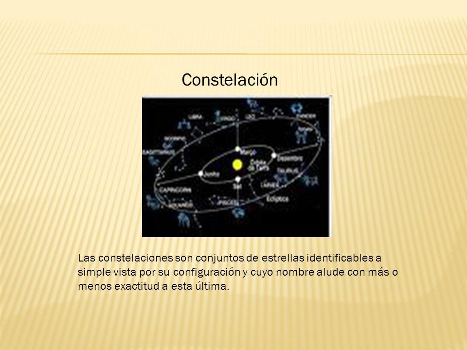 Constelación Las constelaciones son conjuntos de estrellas identificables a simple vista por su configuración y cuyo nombre alude con más o menos exactitud a esta última.