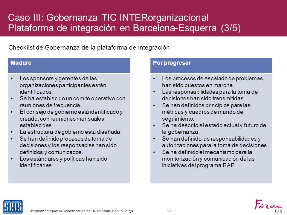 Checklist de Gobernanza de la plataforma de integración MaduroPor progresar Los sponsors y gerentes de las organizaciones participantes están identifi