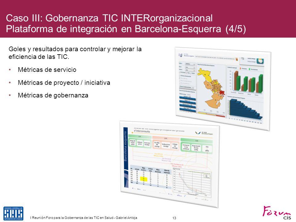 Caso III: Gobernanza TIC INTERorganizacional Plataforma de integración en Barcelona-Esquerra (4/5) Goles y resultados para controlar y mejorar la efic