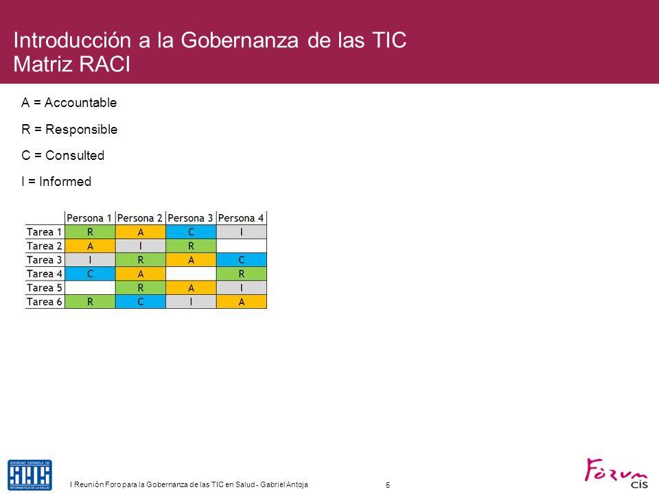 Introducción a la Gobernanza de las TIC Matriz RACI A = Accountable R = Responsible C = Consulted I = Informed 5 I Reunión Foro para la Gobernanza de