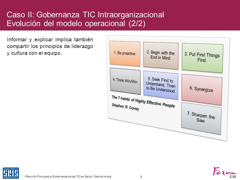 Caso III: Gobernanza TIC INTERorganizacional Plataforma de integración en Barcelona-Esquerra (1/5) El proyecto de Reforma de Atención Especializada (RAE) implica un nuevo modelo organizativo de relación entre primaria y especializada ejecutado mediante Áreas Integrales de Salud.