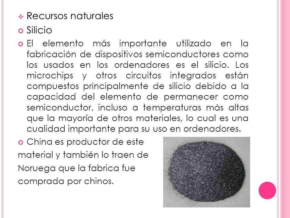 Recursos naturales Silicio El elemento más importante utilizado en la fabricación de dispositivos semiconductores como los usados en los ordenadores e