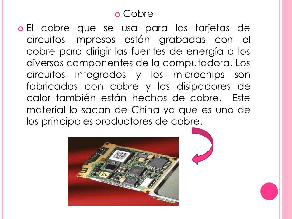 Cobre El cobre que se usa para las tarjetas de circuitos impresos están grabadas con el cobre para dirigir las fuentes de energía a los diversos componentes de la computadora.