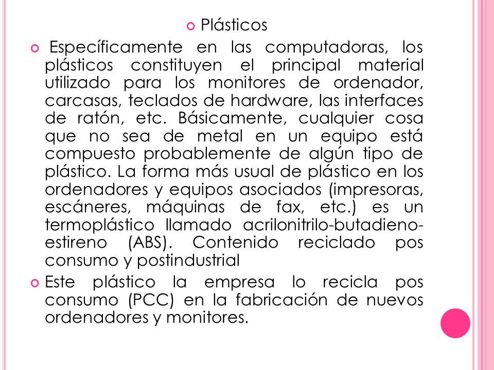 Plásticos Específicamente en las computadoras, los plásticos constituyen el principal material utilizado para los monitores de ordenador, carcasas, teclados de hardware, las interfaces de ratón, etc.