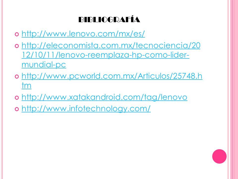 BIBLIOGRAFÍA http://www.lenovo.com/mx/es/ http://eleconomista.com.mx/tecnociencia/20 12/10/11/lenovo-reemplaza-hp-como-lider- mundial-pc http://elecon