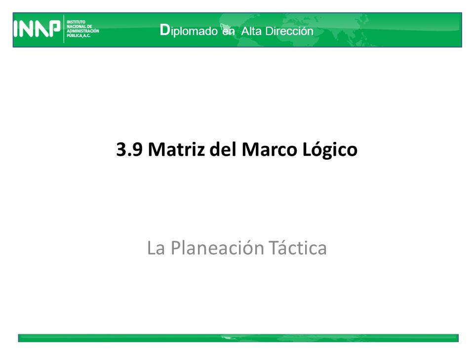 D iplomado en Alta Dirección 3.9 Matriz del Marco Lógico La Planeación Táctica